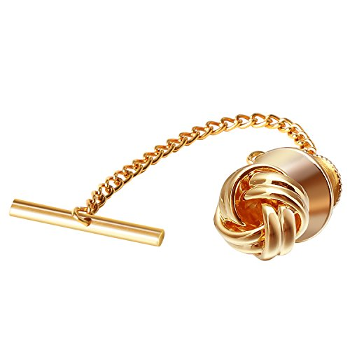Digabi Men's Jewelry Sailor Knot 10mm Tie Tack With Chains and Clutch Back Tie Clip Button Wedding Business Accessories Golden