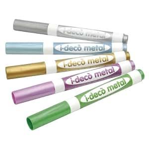 Lápices multi-superficies. Para pintar sobre superficies como vidrio, plástico, metal, madera o papel. Solubles en agua, sin olor. 5 colores: dorado, plateado, azul, verde, violeta. Miden 14 cm. Juego de 5
