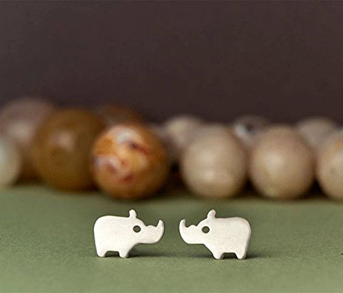 Rhino Stud Earrings in Sterling Silver animal studs hippo jewelry gold hippo studs rose gold kids gift Christmas kawaii jewelry 0.0014]()