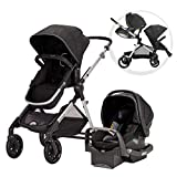 Evenflo Pivot Xpand Modular Travel System with SafeMax infant Car Seat, Stallion, Black