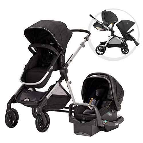 (Evenflo Pivot Xpand Modular Travel System, Baby Stroller, Up to 22 Configurations, Extra-Large Storage, Single-to-Double Stroller, Durable Construction, Compact Folding Design, Stallion Black)
