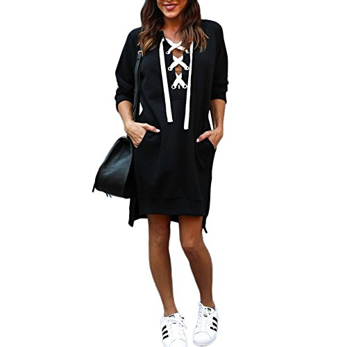 DANALA Women's Casual Front Criss Cross Bandage Long Pullover Sweatshirt Dress Dark Black Size (Criss Cross Pleated Jumper)