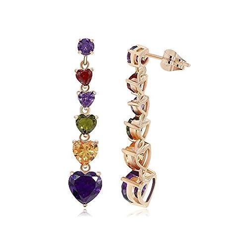 Kemstone Multi Color Austria Rhinestone Heart Drop Dangle Earrings Gold Plated Jewelry for Love Women