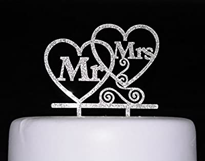 Bride and Groom Cake Topper, Mr and Mrs Sign, Wedding Decorations-Silver