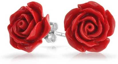 Bling Jewelry Silver Plated Red Rose Stud Earrings 10mm