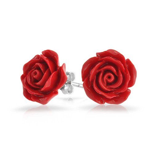 (3D Craved Red Rose Flower Stud Earrings For Women For Teen For Mother Silver Plated Post)