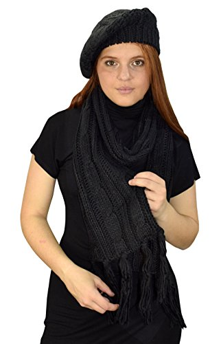 Peach Couture Cable Knit Beret Beanie Hat and Scarf Set Black ()