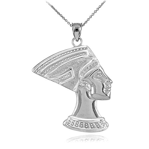 Ancient Egyptian Crown (High Polish 925 Sterling Silver Egyptian Queen Nefertiti Charm Pendant Necklace, 20