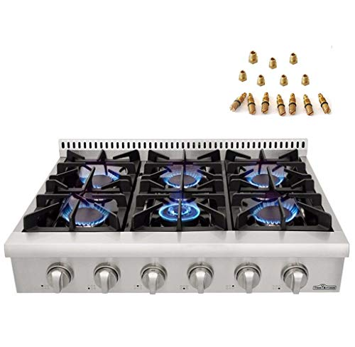 36in. Pro-Style Gas Rangetop with 6 Sealed Burners of Stainless Steel Thorkitchen HRT3618U+ LP Conversion Kits