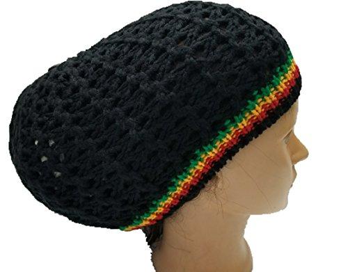 5ac14862cc355 Black w/R-Y-G Stripe Rasta Dread Tam Cap Hat Crown Beret Beanie Knit C