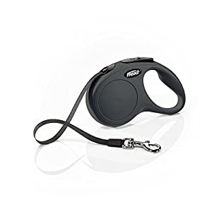 Flexi New Classic Tape Retractable Leash, Black, Small 16 ft