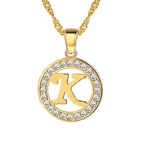 - Suplight Initial Letter K Necklace Pendant 18K Gold Plated CZ Letter Charm for Women/Girls