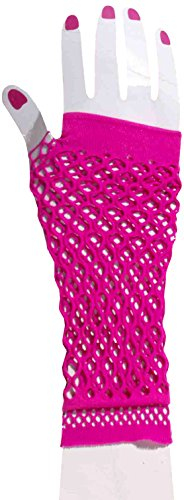 Forum Novelties Women's Club Candy Double Fishnet Novelty Glovelettes, Pink, One Size (Rocker Girl Halloween Costume)