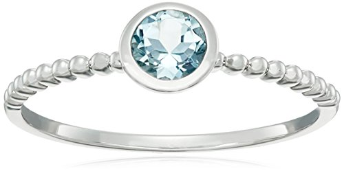 10k White Gold Aquamarine Round Solitaire Beaded Shank Stackable Ring, Size 7 Aquamarine 10k Gold Ring