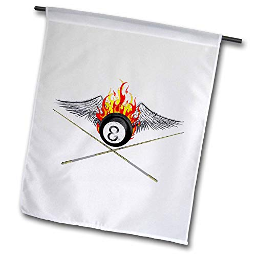 (3dRose Macdonald Creative Studios - Billiards - Flaming 8 Ball and Pool cues for Anyone who Plays Billiards or 8 Ball. - 18 x 27 inch Garden Flag (fl_299266_2))