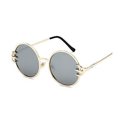 Garra Metal sol Unisex de sol Punk Style sol conducir hombres PC mujeres Retro retro Protección Decoración para gafas Cool para Viajar Wolves y Gafas de Frame de esqu Plata UV lente de redondo Gafas Gafas Zptcq