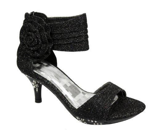 9e184a9833d Girls  Ankle Wrap High Heel Glitter Dress Sandals w  Flower Black