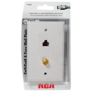 amazon com rca cat 5 6 f connector wall plate tph557r home rca cat 5 6 f connector wall plate tph557r