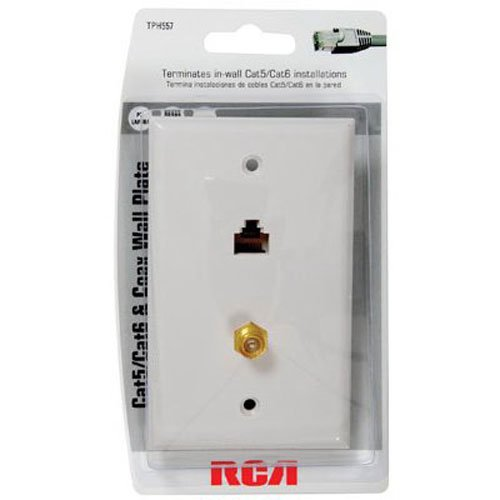 41iINFVyVpL amazon com rca cat 5 6 f connector wall plate (tph557r) home rca cat5 wall plate wiring diagram at crackthecode.co
