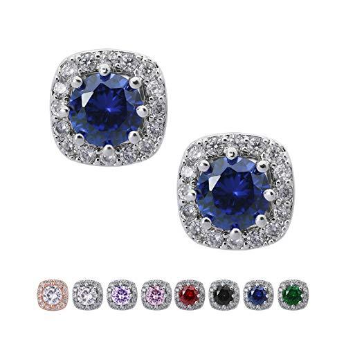 SWEETV Cubic Zirconia Stud Earrings for Women, Girls-Cushion CZ Rhinestone Hypoallergenic Earrings for Wedding, Prom, Party,Jewelry Gifts,Blue Sapphire