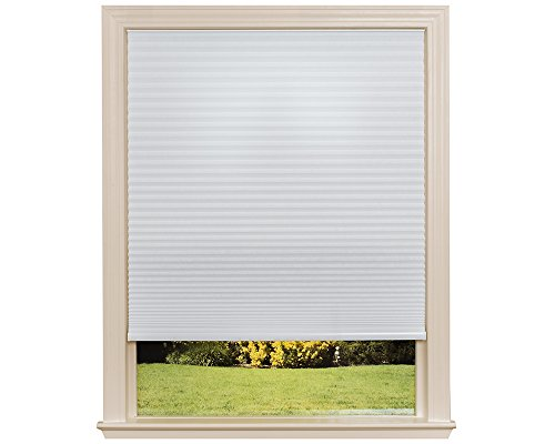 Cellular Window Shade - Easy Lift Trim-at-Home Cordless Cellular Light Filtering Fabric Shade White, 30 in x 64 in, (Fits windows 19
