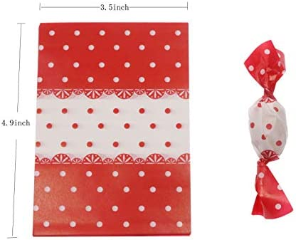 Feelava Candy Wrapping Paper,600 Sheet Xmas Nougat Making Wrapping Twisting Sweet Wax Paper for Chocolate Caramel,Oil-Proof Cookie Wrapper Bags for New Year Holiday Party,12x8.5cm