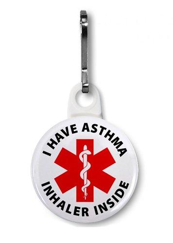 I HAVE ASTHMA INHALER INSIDE Medical Alert 1 Zipper Pull Charm