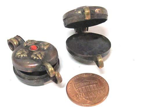 1 Pendant - Small Size Tibetan Nepal Double dorje Prayer kalamantra Box Rustic Finish Copper Pendant - PM306B ()
