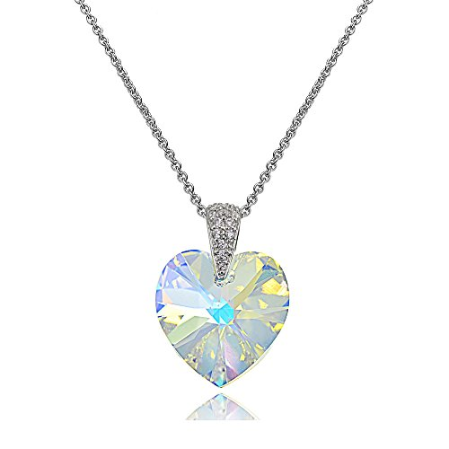 Clear Crystal Heart Necklace - Sterling Silver Aurora Borealis Heart Necklace Created with Swarovski Crystals