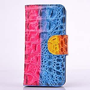 RC - Hybrid Crocodile Style Full Body Leather Case with Card Slot and Hand Chain for iPhone 5C (Assorted Colors) , Rose