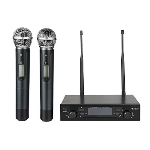 BC Master Wireless Microphone Dual Channel UHF System with Selectable Frequencies Prevent Interference, Christmas gift for Family Party, Church, Small Karaoke club ecc (Range:190-260Ft) by BC Master