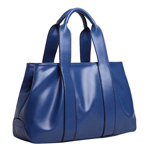 Spalla Delle Donne Del Sacchetto Di Cuoio Borsa Retro Fashion Handbag,Blue-OneSize