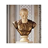 Caesar Bust Sculpture Statue with Gold Breastplate