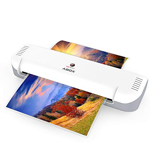 ABOX A4 Laminator Machine, Portable Thermal Laminating Machine OL141 with 12 Pouches, Fast Warm-up & No Bubbles, for Home/Office/School ()