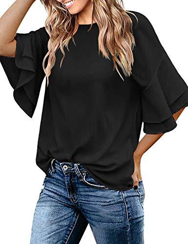 - Luyeess Women's Ladies Casual Long Elegant Blouse Half Bell Sleeve Crewneck Keyhole Tunic Top Shirt Solid Black, Size L(US 12-14