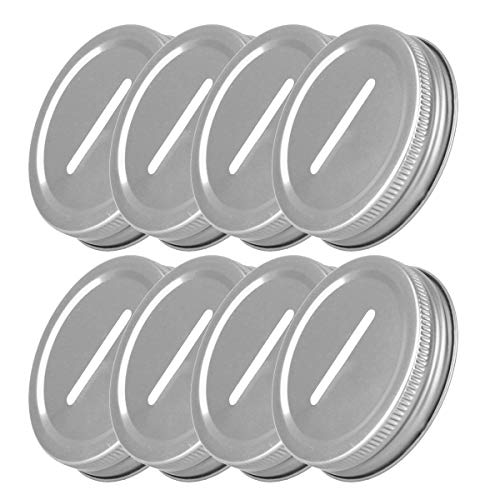 FEESHOW 8pcs Stainless Steel Metal Coin Slot Bank Lid Inserts for Mason Jar Canning Jar, 70mm Inner Diameter Silver One Size