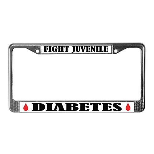 CafePress - Juvenile Diabetes Awareness License Frame - Chrome License Plate Frame, License Tag Holder