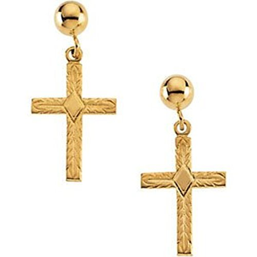 14k Yellow Gold Cross Dangle Earring by The Men's Jewelry Store (Image #4)