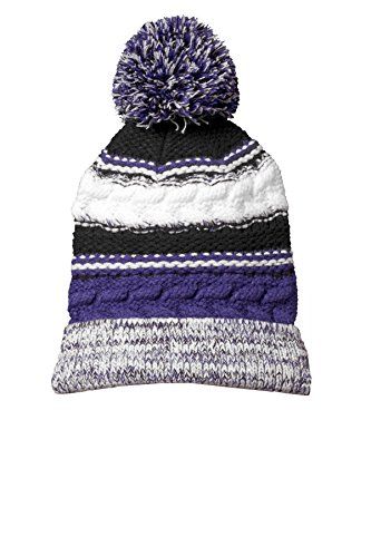Sport-Tek Men's Pom Pom Team Beanie OSFA Purple/ Black/ White