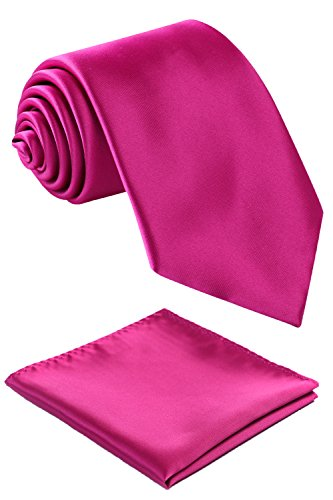 (Fortunatever Classical Men's Solid Necktie With Gift Box+Pocket Square (Magenta))