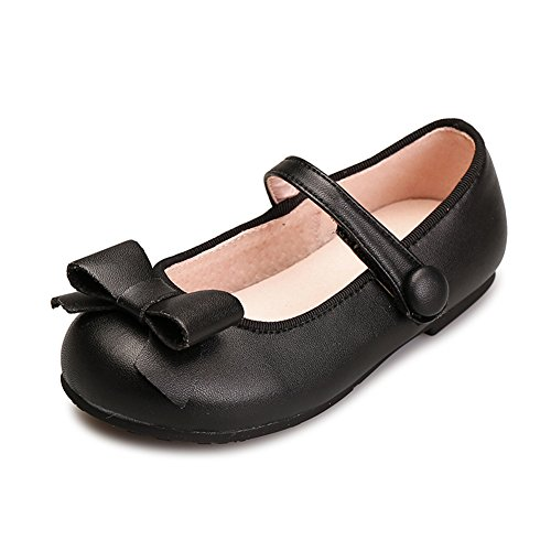 AjayR Kids Girls Bowknot Genuine Leather Soft Dressy Mary Jane Flats Pumps,Black,6 M US Toddler/5.79 inches - Kid Leather Pump