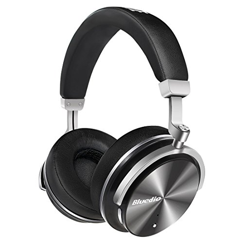 Bluedio T4 (Turbine) Active Noise Cancelling Bluetooth Headphones with Mic Over-Ear Swiveling Wired and Wireless Headphones Headset for Cell Phone/TV/PC bass Fashion (Black) ()
