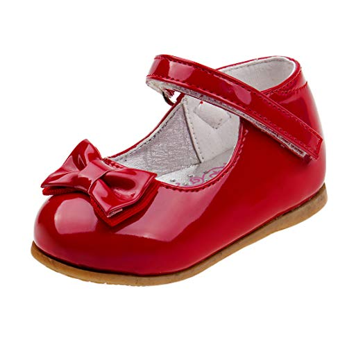Josmo Baby Girls Patent Dressy Shoe Bow (Infant, Toddler) (3 M US Infant, Red Bow)' ()