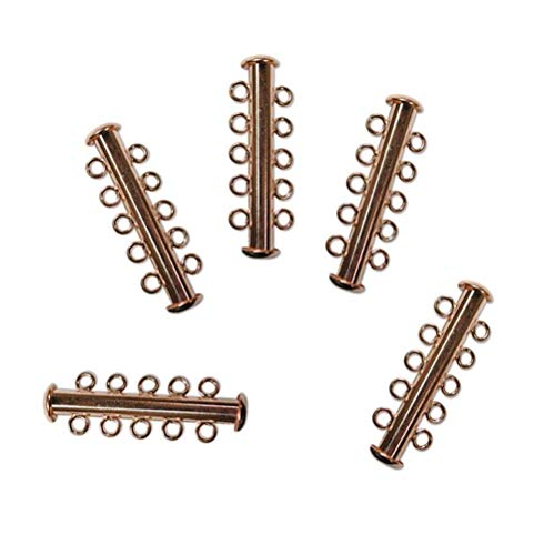 10 Pack Multi 5 Strand Slide Lock Clasps, Copper Plated Brass