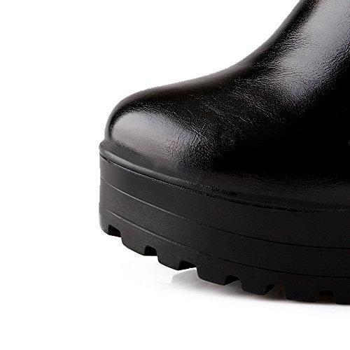 AgooLar Damen Hoher Absatz Rein Rund Zehe Reißverschluss Stiefel mit Metallisch Schwarz