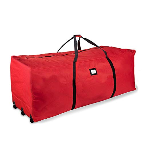 """ProPik Holiday Rolling Tree Storage Bag, Extra Large Heavy Duty Storage Container, 28"""" H X 16.5"""" W X 60"""" L with Wheels & Handles Fits Up to 9 Foot Tall Disassembled Trees 600D Oxford (Red)"""
