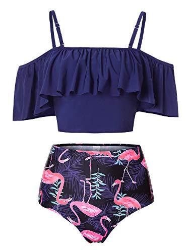 Kaei&Shi Strapless,Strappy Swimwear,Flamingo High Waisted Flounce Bikini Set,Tummy Control Swimsuits for Women,Off Shoulder Bathing Suit Blue X-Large