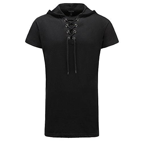 - JannyBally Men Fashion T-Shirt Hip Hop Muscle Lace up Longline V Neck Super Hipster Curved Hem Tops (Black, S)