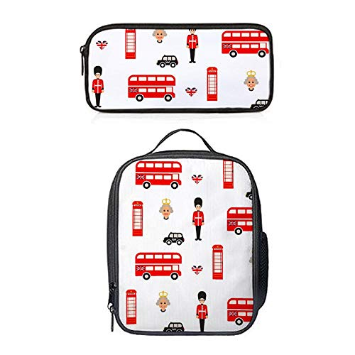 SARA NELL England Symbols Firefighters And Fire Trucks Lunch Bag&Pencil case Set with Padded Straps for Boys Girls