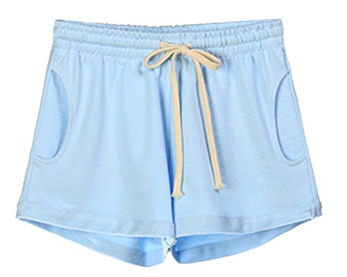 Coulisse Curling Pantaloncini QitunC Pantaloni Elastica Yoga Vita Chiaro Blu Casuale Estivi Spiaggia Corti Sport Donna q5UqEwt